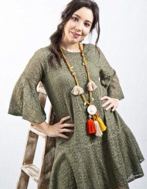 vestido verde caqui amplio