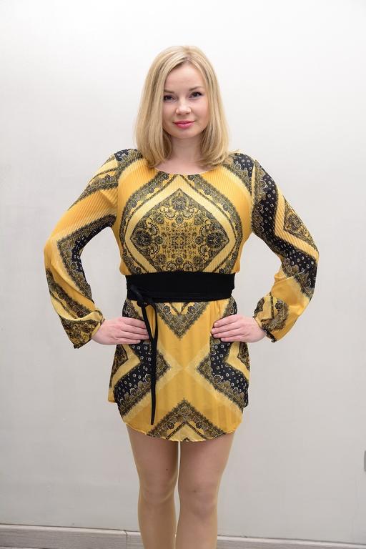 vestido evento amarillo y nergo